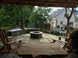 The Gardens Landscaping Canal Bank House Paving Gazebo
